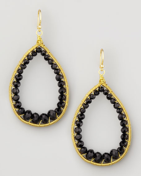 Beaded Teardrop Earrings, Black