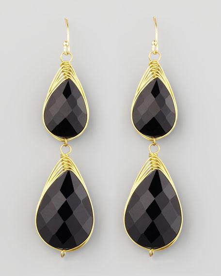 Double-Drop Wire-Trimmed Earrings, Black