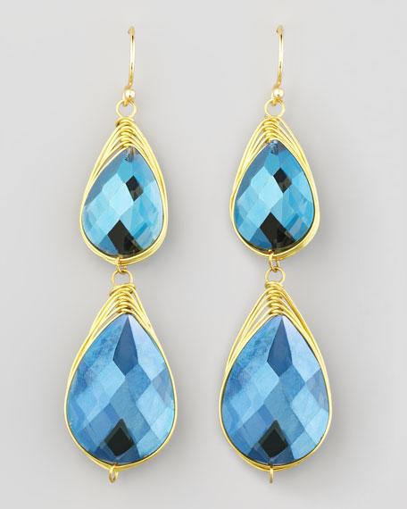 Double-Drop Wire-Trimmed Earrings, Blue