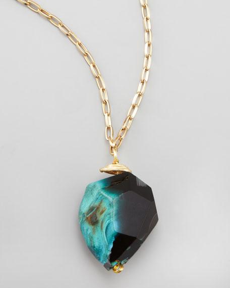 Long Rough Agate Pendant Necklace