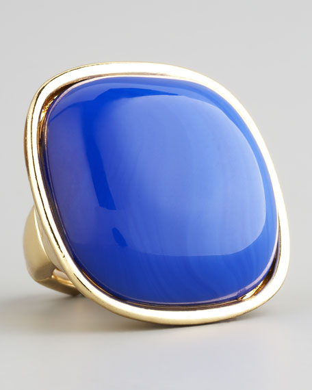 Square Cabochon Ring, Blue
