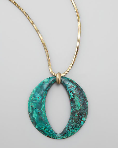 Long Patina Circle Pendant Necklace