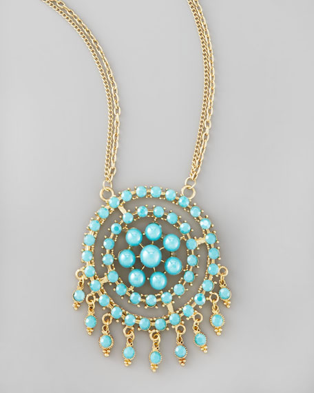 Medallion Pendant Necklace, Turquoise