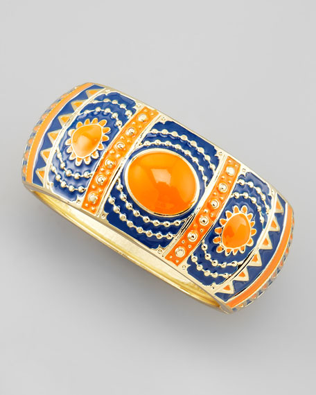 Enamel Bangle, Orange/Blue