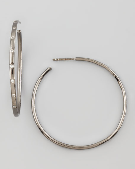 Noir Pave Diamond Hoop Earrings
