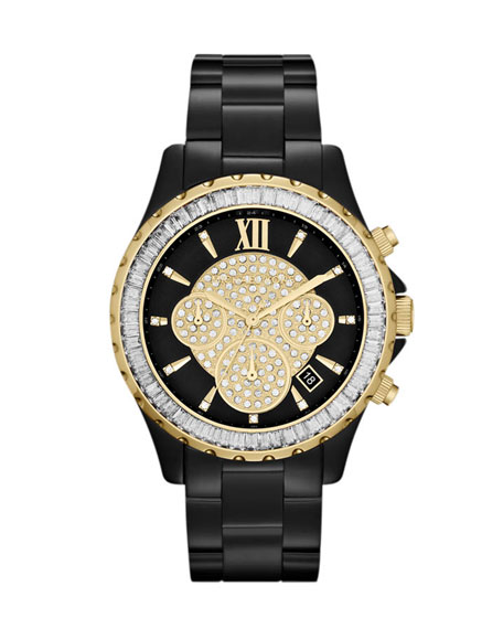 Mid-Size Black Stainless Steel Glitz Watch