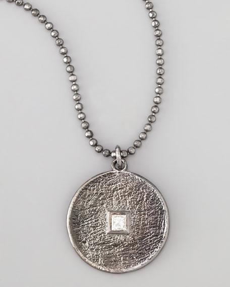 Pave Square-Diamond Pendant Necklace