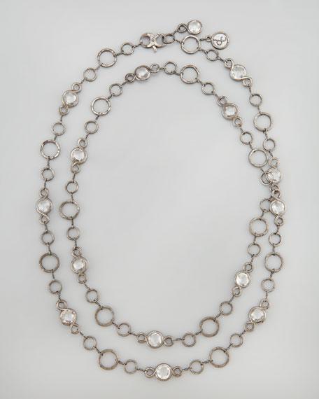 """White Topaz-Station Necklace, 42""""L"""
