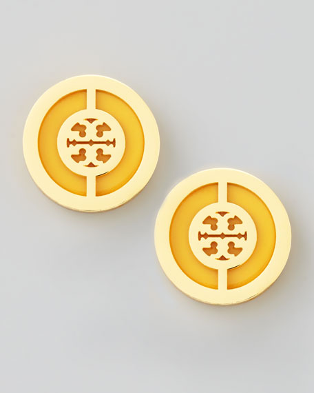 Deco Logo Stud Earrings, Golden