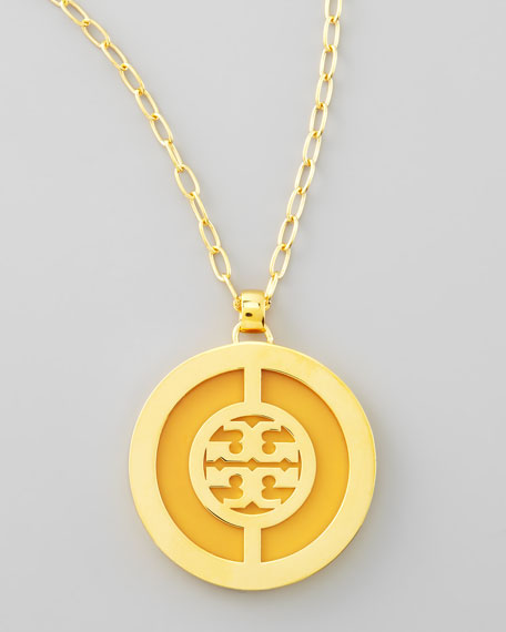 Deco Logo Pendant Necklace, Yellow