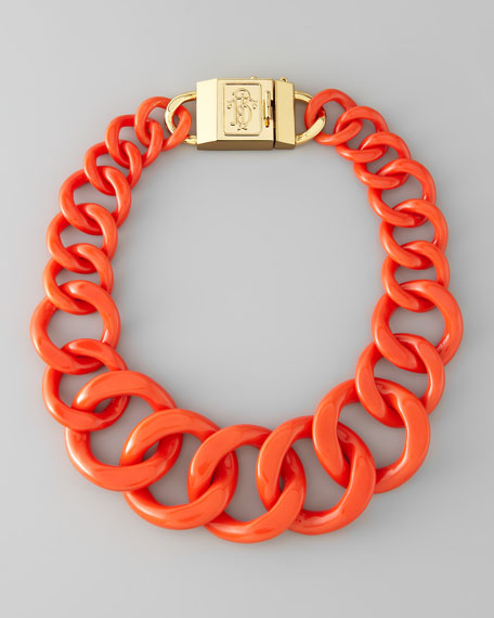 Logo-Clasp Resin Chain Necklace, Fire Orange