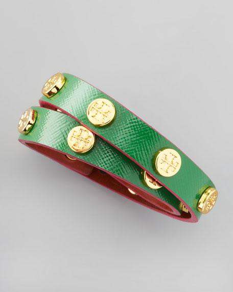 Logo-Studded Wrap Bracelet, Emerald/Pink