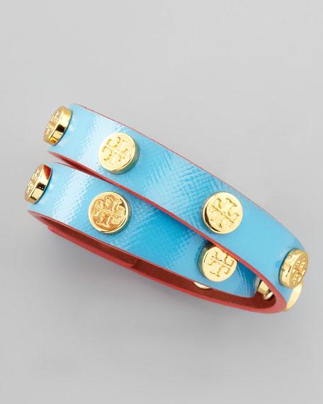 Logo-Studded Wrap Bracelet, Turquoise/Red