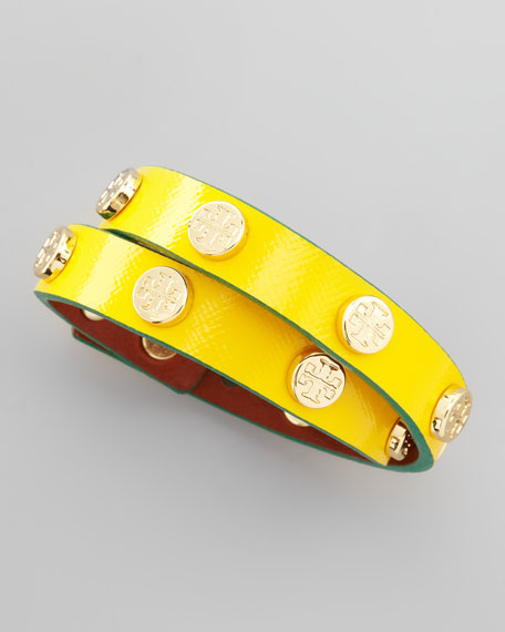 Logo-Studded Wrap Bracelet, Yellow/Green