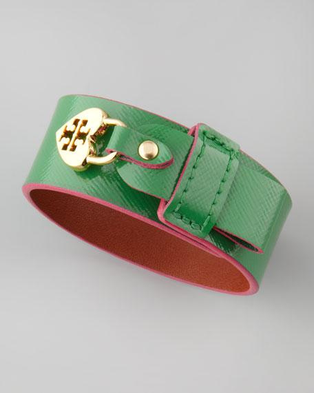 Alden Leather Heart-Lock Cuff Bracelet, Green/Pink