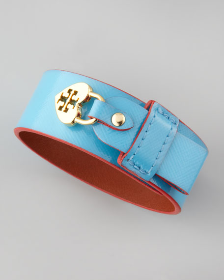 Alden Leather Heart-Lock Cuff Bracelet, Turquoise/Red