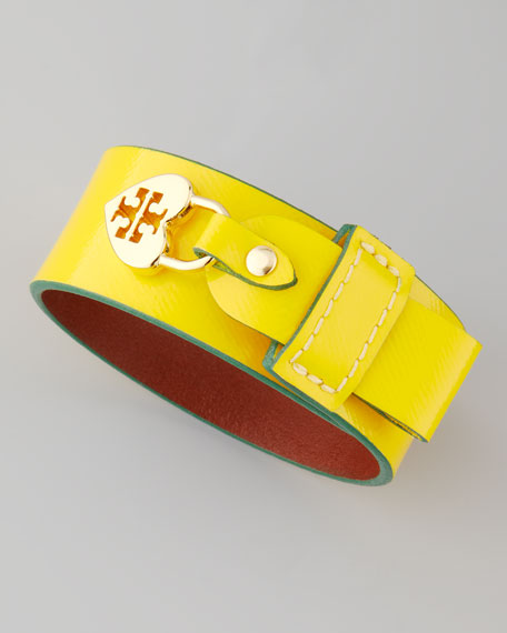 Alden Leather Heart-Lock Cuff Bracelet, Yellow/Green
