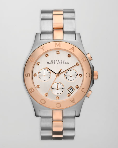 Blade Two-Tone Watch, Stainless Steel/Rose Golden