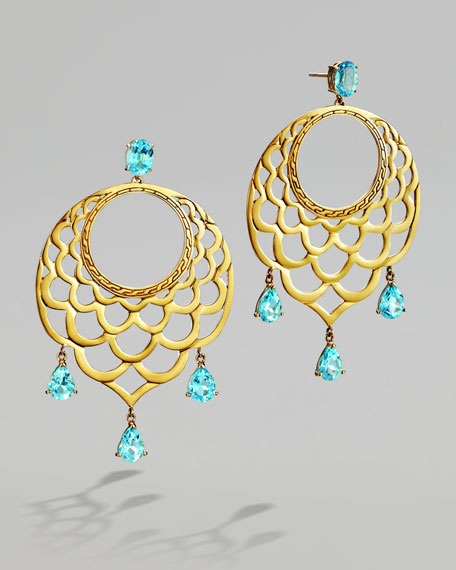 Blue Topaz & Gold Lace Hoop Earrings