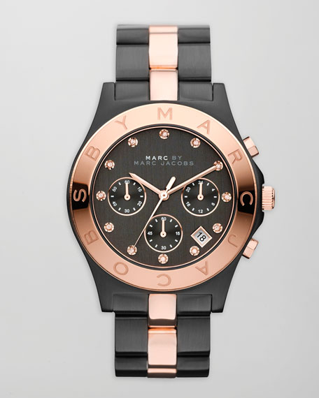 Blade Two-Tone Watch, Black/Rose Golden