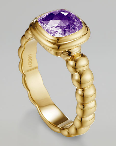 Gold Square Solitaire Ring, Amethyst