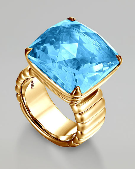 Gold Princess-Cut Ring, Blue Topaz