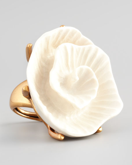 Resin Flower Ring, Ivory