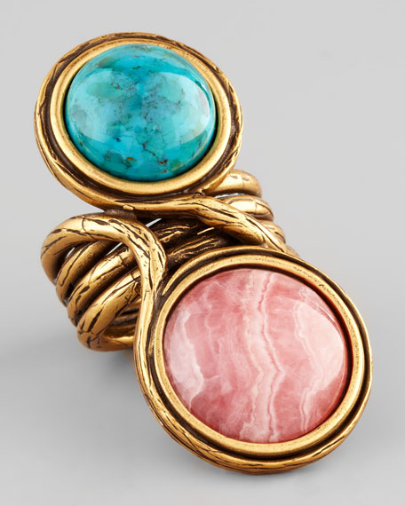 Two-Cabochon Ring, Amazoni/Rose