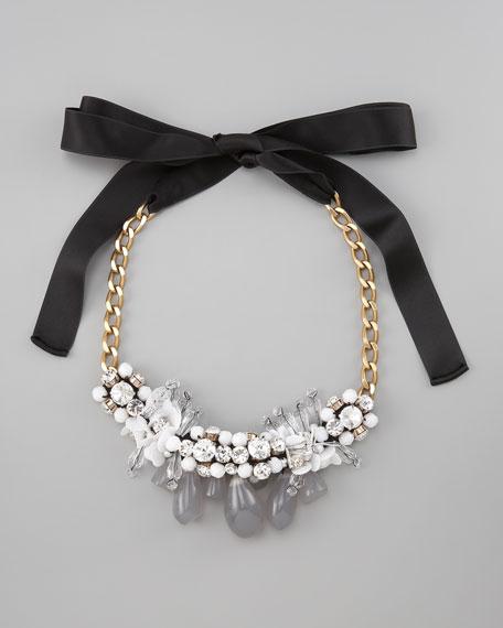 Beaded Bib Necklace, White