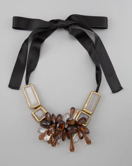 Beaded Bib Ribbon Necklace