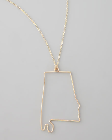 Gold State Pendant Necklace, Alabama