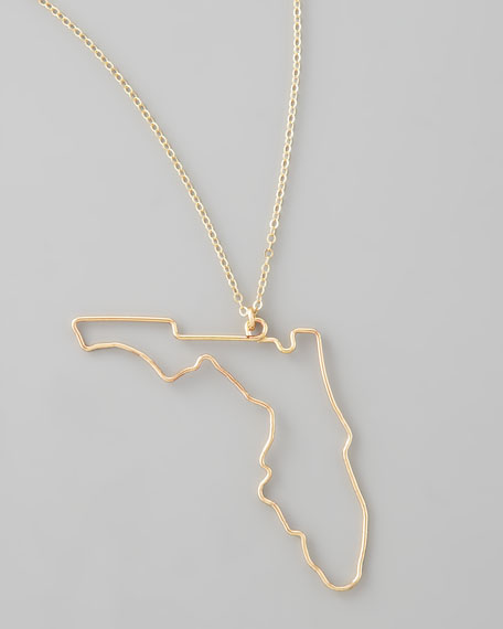 Gold State Pendant Necklace, Florida