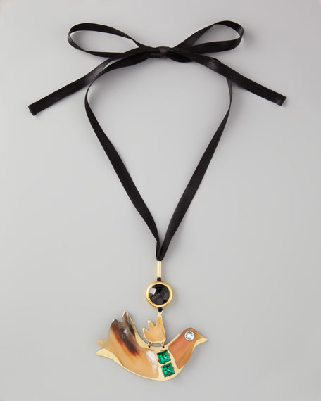 Bird-Pendant Ribbon Necklace