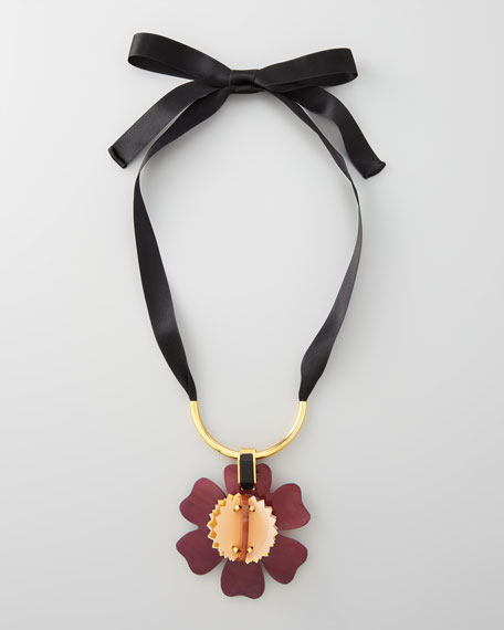 Horn Pendant Necklace, Burgundy
