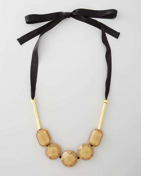 Resin Bead Ribbon Necklace, Malt