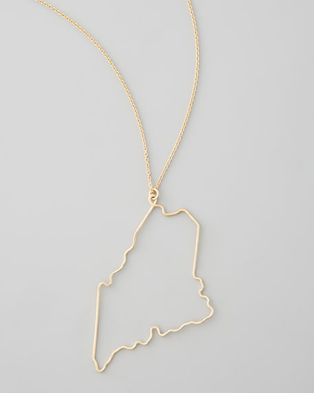 Gold State Pendant Necklace, Maine