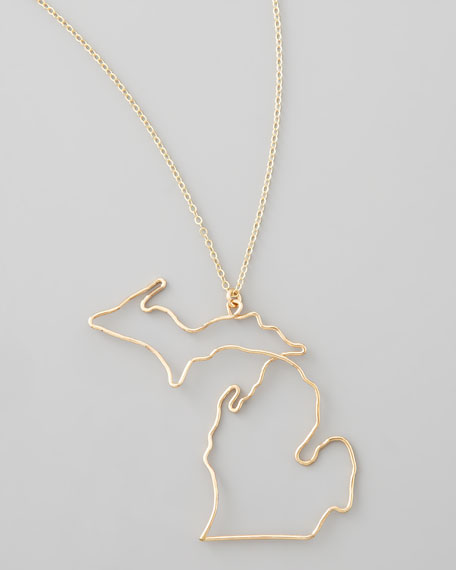Gold State Pendant Necklace, Michigan