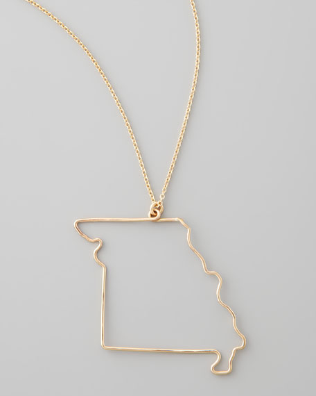 Gold State Pendant Necklace, Missouri