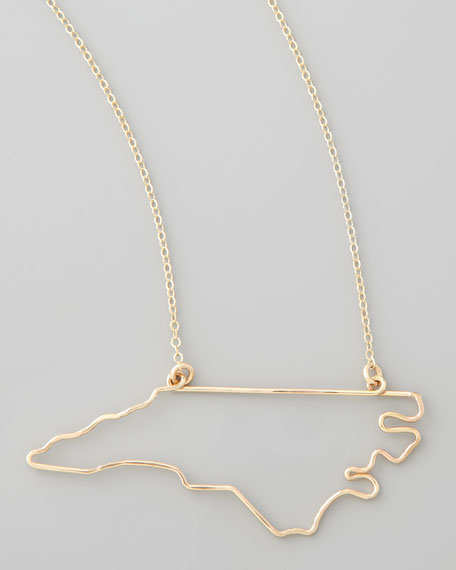 Gold State Pendant Necklace, North Carolina