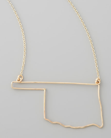 Gold State Pendant Necklace, Oklahoma