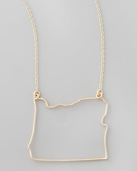 Gold State Pendant Necklace, Oregon