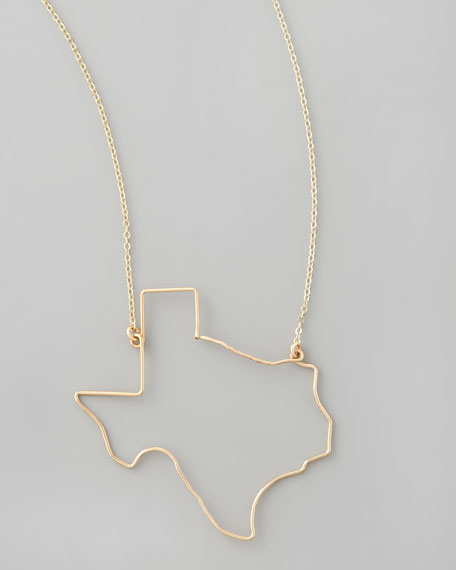 Gold State Pendant Necklace, Texas