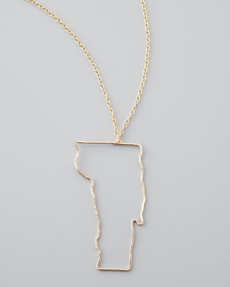 Gold State Pendant Necklace, Vermont