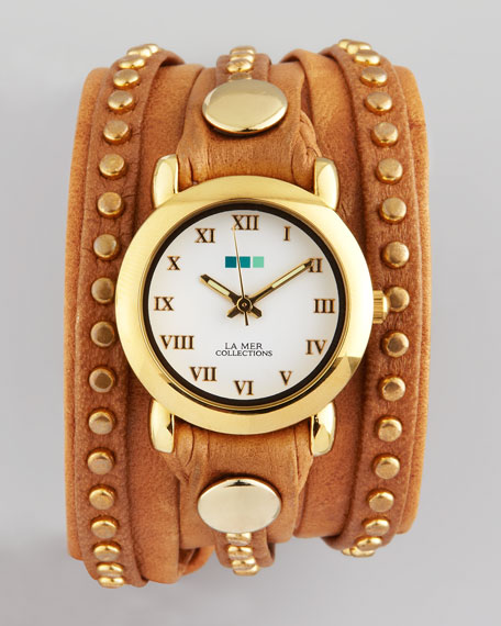 Studded Wrap Round Watch, Cognac