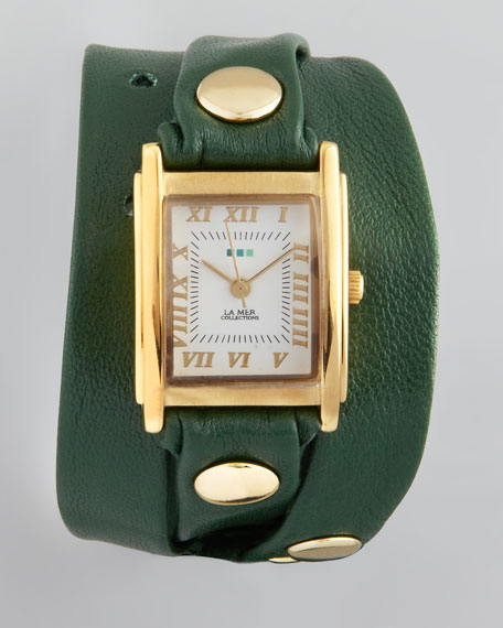 Studded Wrap Rectangle Watch, Green
