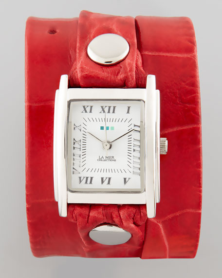 Croc-Embossed Wrap Rectangle Watch, Red