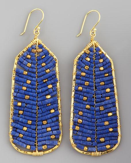 Beaded Tribal Earrings, Blue