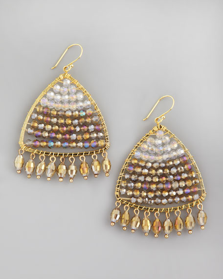 Iridescent Beaded Triangle Drop Earrings