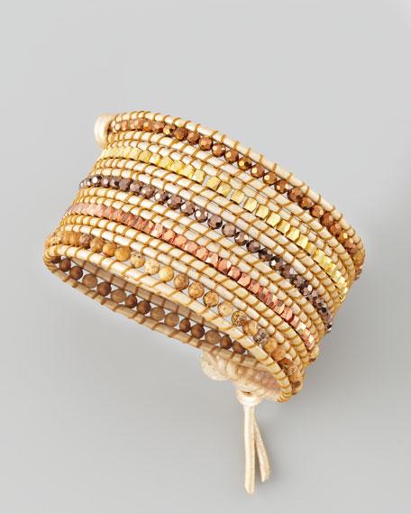 Beaded Wrap Bracelet, Tan