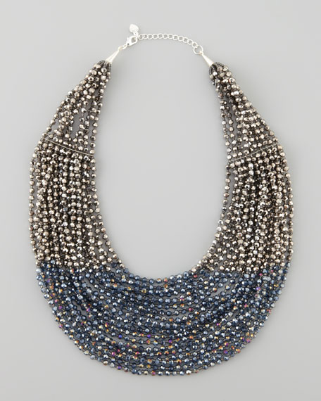 Beaded Multi-Strand Necklace, Blue/Hematite